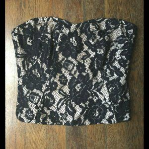 Tibi Strapless Black Lace Crop Top w/ Exposed Zip